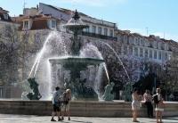Lissabon: de fontein op het Praca Dom Pedro IV
